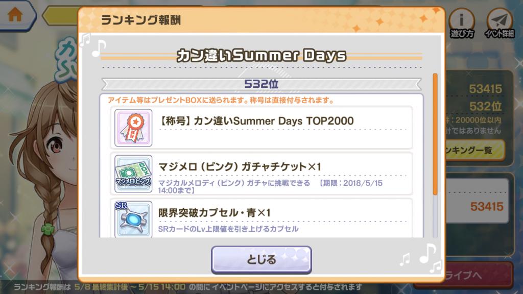 「カン違いSummer Days」報酬