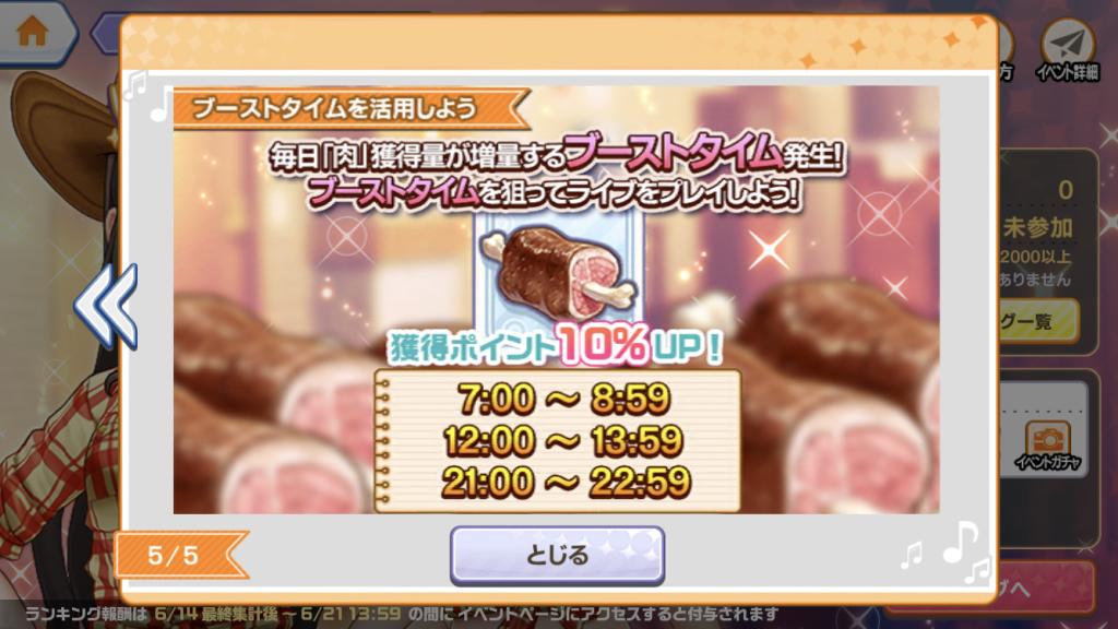 ブーストタイムで肉が10%増量!