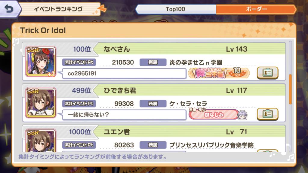 [ときドル]イベント「Trick Or Idol」イベントランキング100-1000